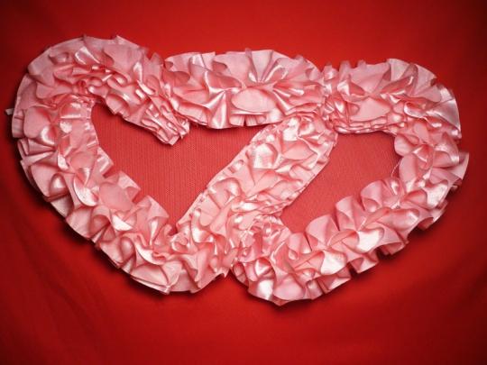 Сердца №10 атлас розовые
