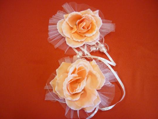 Цветы на зеркала и ручки а/м персик (уп.2 шт)