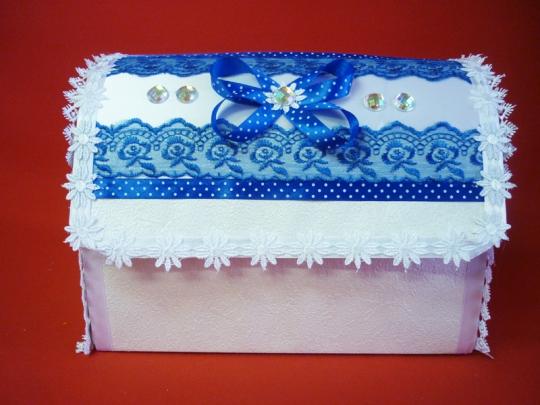 Сундук Анта №1 бело-синий разборный