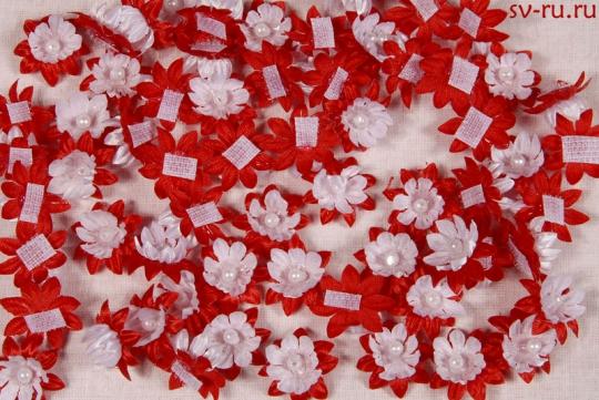 Цветы-липучки бело-красные (упак.100шт.)
