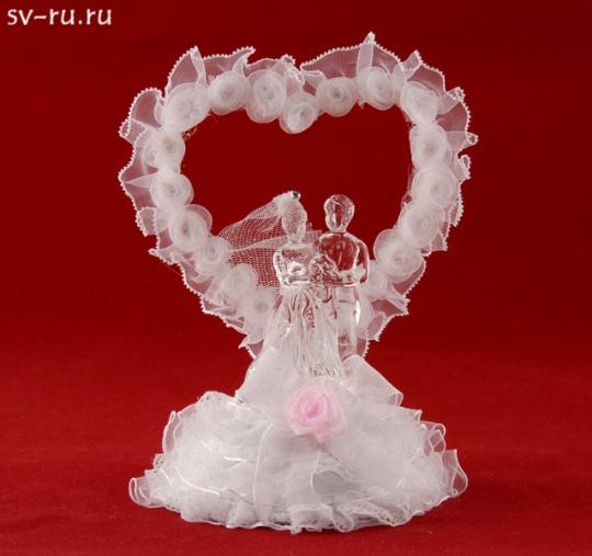 Сердце с молодож. из стекла с LED подсв. GM-33333