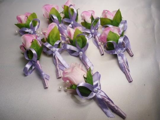 Бутоньерка Аврора розовая (10шт)