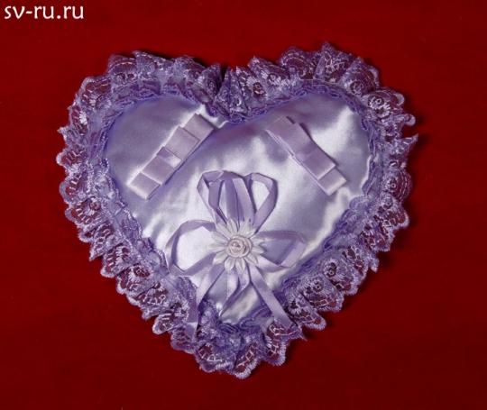 Подушечка для колец Сердце сиреневая