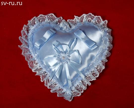 Подушечка для колец Сердце голубая