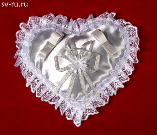 Подушечка для колец Сердце серебро