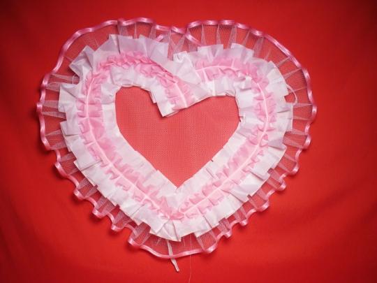 Сердце №10/5 п/э бело-розовое