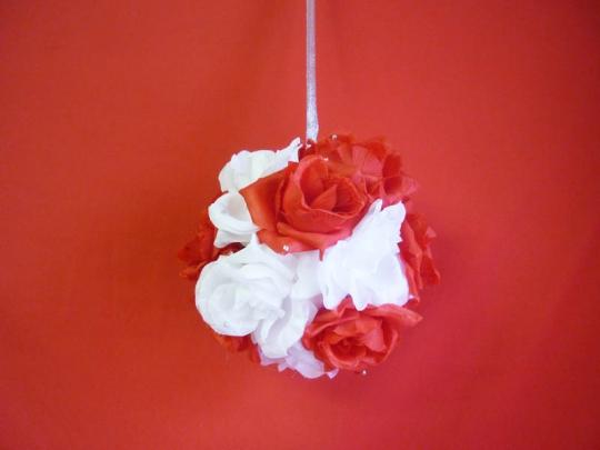 Декорация Шар 20см бело-красный
