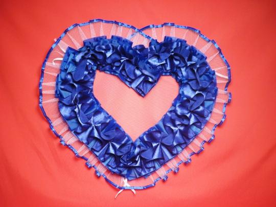 Сердце №10 атлас синее