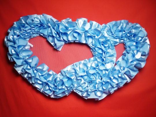 Сердца №10 атлас голубые