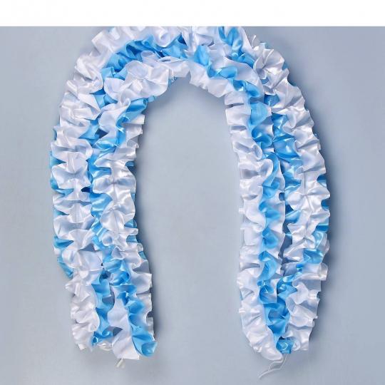 Рюшь на а/м объёмная атлас бело-голубая