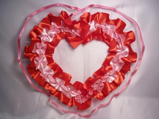 Сердце №10/5 атлас красно-розовое