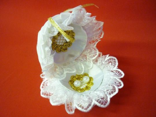 Подставка под кольца Ракушка бело-золотая