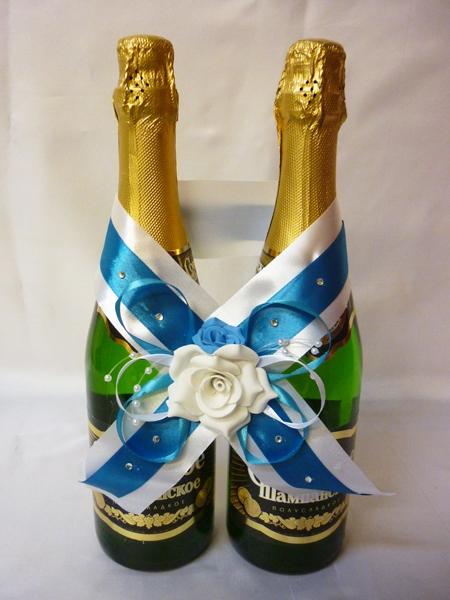 Украшение на шампанское №1 морск.волна-белое