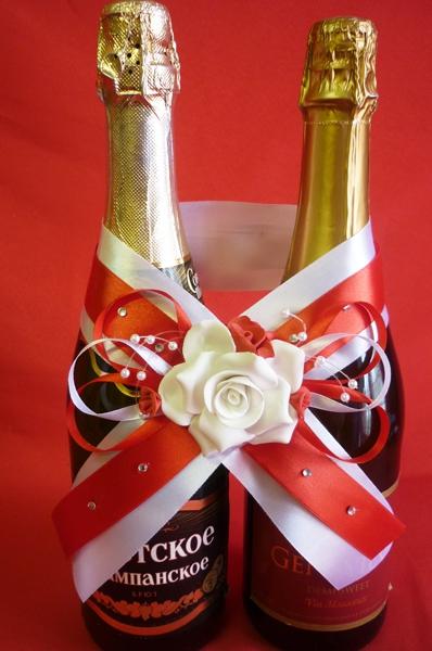 Украшение на шампанское №1 красно-белое