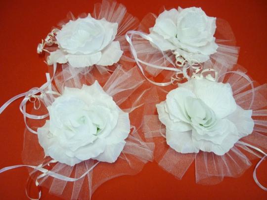 Цветы на зеркала и ручки а/м белые (уп.4 шт)
