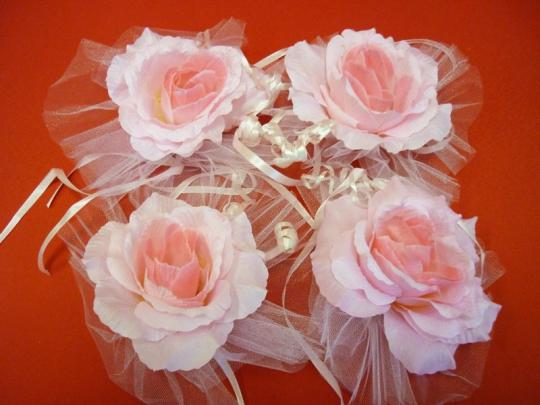 Цветы на зеркала и ручки а/м розовый (уп.4 шт)