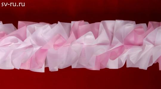 Рюшь на а/м объёмная п/э бело-розовая