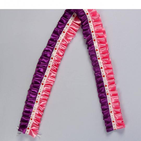 Рюшь на а/м сборная атлас фиолетово-розовый