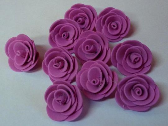 Роза 3см ярко-розовая (10шт)