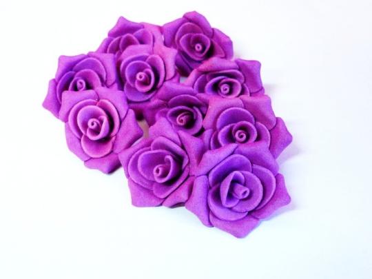 Роза №2, 3см ярко-розовая (10шт)