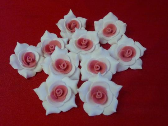 Роза №2, 3см бело-коралловая (10шт)