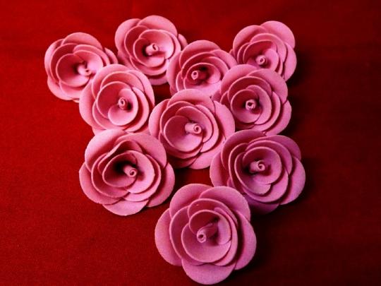 Роза 4см ярко-розовая (10шт)