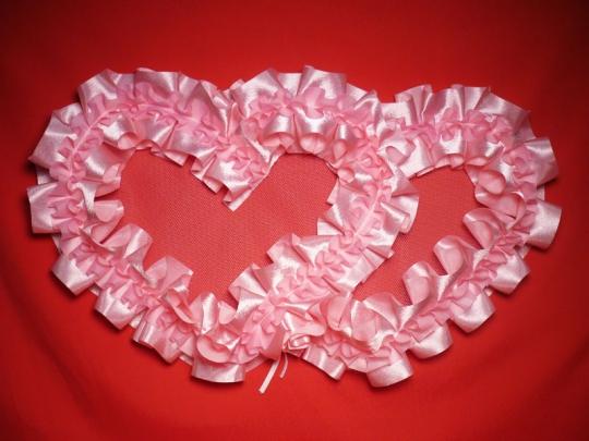 Сердца №10атлас,№5 п/э бело-розовые
