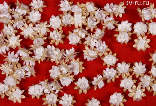 Цветы-липучки бело-золотые (упак.100шт.)