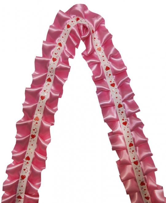 Рюшь на а/м сборная атлас розовая