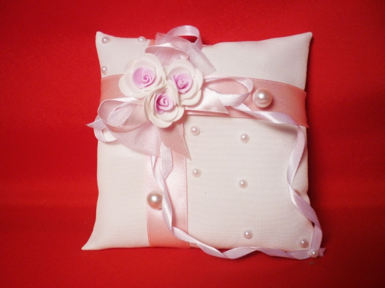 Подушечка для колец №2 бел-розовая
