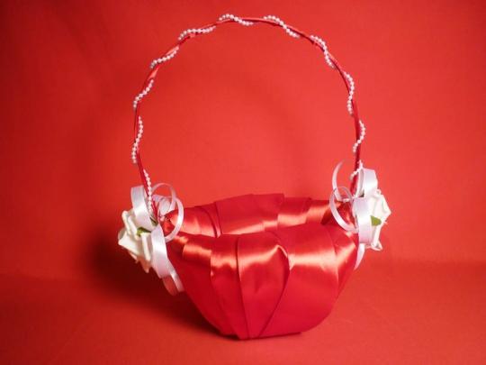 Корзинка для лепестков роз Лоза атлас красная
