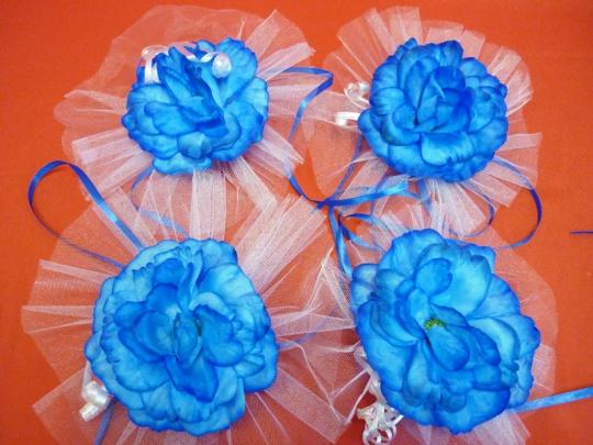 Цветы на зеркала и ручки а/м синие (уп.4 шт)