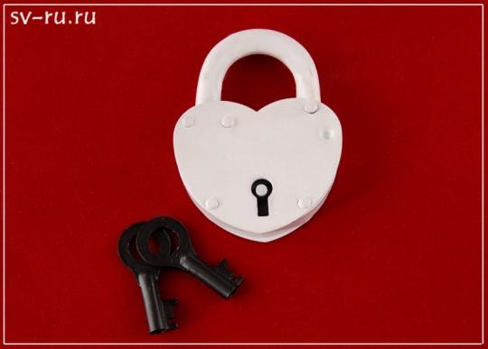 Замок ЗВС-2 Сердечко (белый)