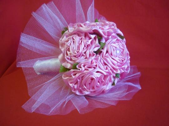 Букет для невесты Роза атлас розовый