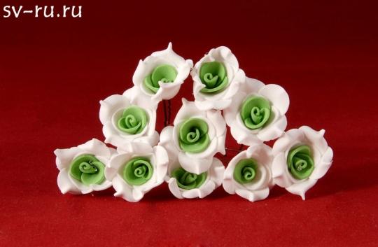 Цв. на шпильке роза №2 (уп.10шт) (бел-зел)