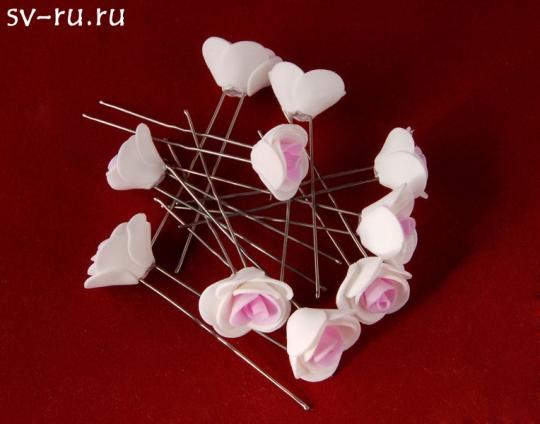 Цв. на шпильке роза (уп.10шт) (бел-роз)