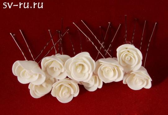 Цв. на шпильке роза (уп.10шт) (айвори)