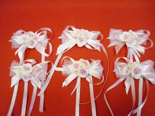 Бутоньерка №1 бело-розов. (уп.6 шт)