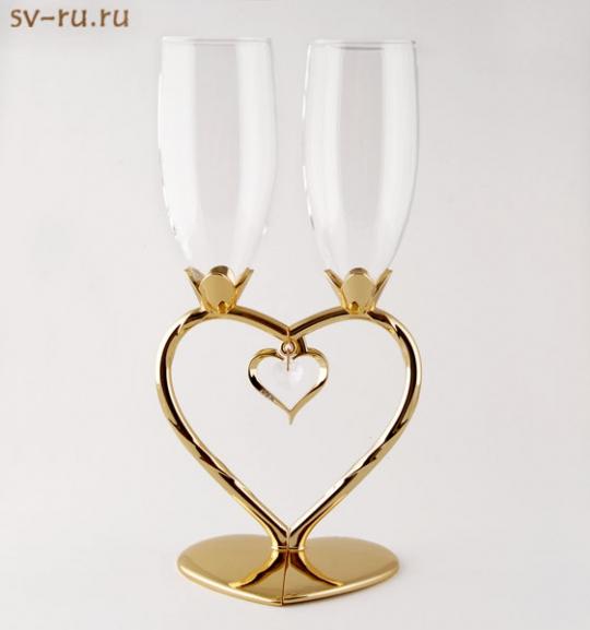 Св.бокалы с подвеской в виде сердца ST-7943/PG