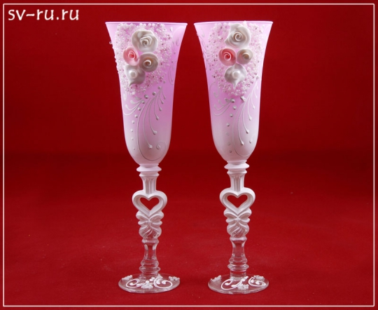 Бокалы Лепка розовые