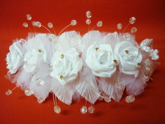 Веночек белый Роза в фатине со стразами
