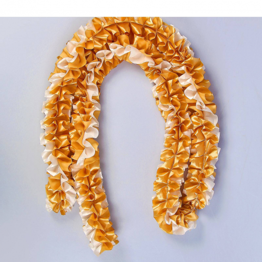 Рюшь на а/м объёмная атлас золото-айвори