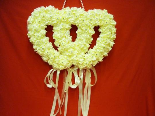 Декорация Два сердца крем. ZG-24429 60*7*55см