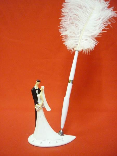 Ручка-перо на подст. Жених и невеста, полистоун GL-155003