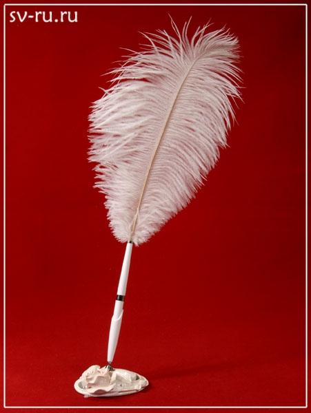 Ручка-перо на подставке Розовая Роза, полистоун GL-142003